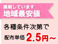 地域最安値に挑戦中!配布単価2.5円〜